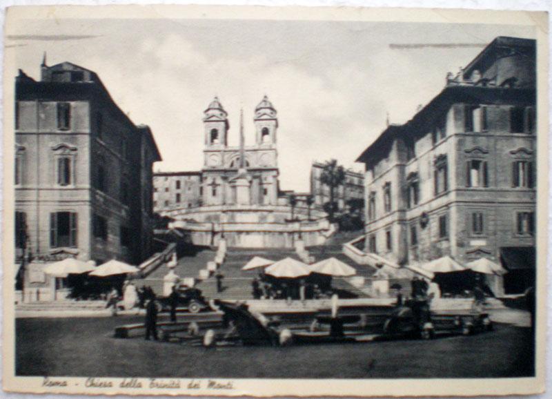 1950年発行のローマ,スペイン広場Romaお部屋のインテリアにイタリアのアンティークショップで見つけた絵ハガキと切手と雑貨