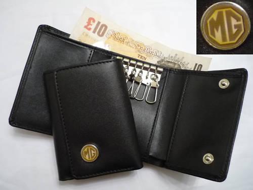 エムジー MGの本革キーホルダー,キーケース付きお財布