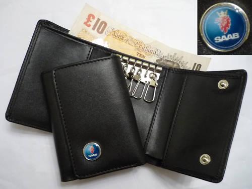 サーブ SAABの本革キーホルダー,キーケース付きお財布