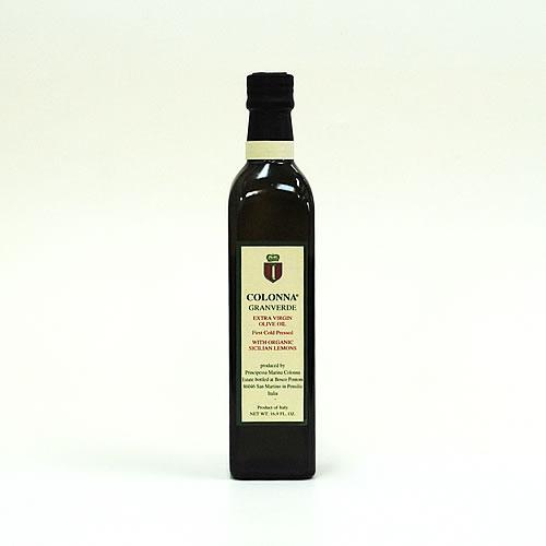イタリア モリーゼ シチリアの大地と太陽に育まれたレモンの香りがする シチリア産レモン入りエクストラヴァージンオリーブオイル グランヴェルデ 500ml マリーナ コロンナ Olio extra oliva GranverdeMarina biologico con vergine Colonna di limone 優先配送 最安値 siciliano