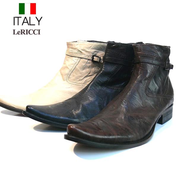 送料無料 ブーツ メンズ 本革 牛革 サイドジップジョッパーブーツ ワッシャー加工 ロングノーズ イタリア製 LeRICCI インポート (3色/ブラック ダークブラウン ホワイト) レリッチ