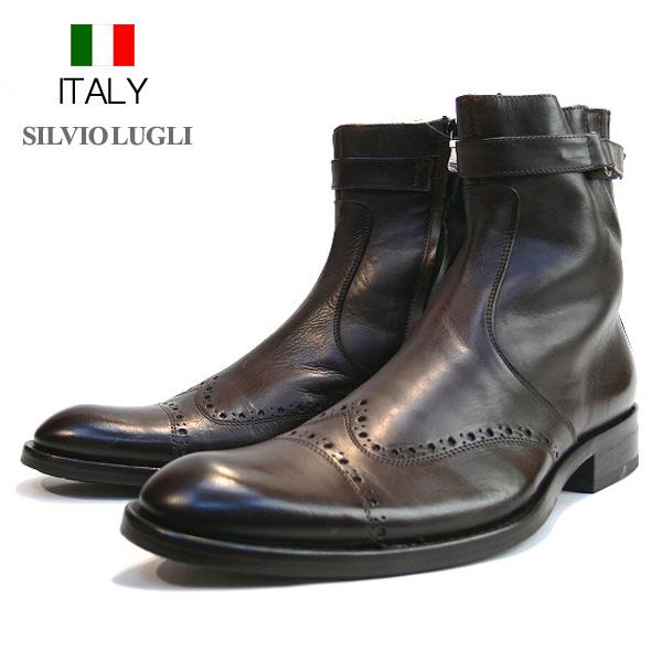 送料無料 ブーツ メンズ 本革 牛革 パンチング メダリオン サイドジップブーツ レザーショートブーツ SILVIOLUGLI イタリア製 インポート (ブラウン) シルビオルージー