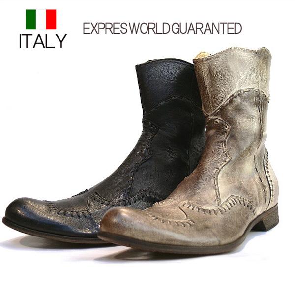 送料無料 ブーツ メンズ 本革 牛革 ショート サイドジップロングブーツ レザーブーツ ステッチ入り EXPRES WORLD GUARANTED イタリア製 インポート (2色/ベージュ ブラック)