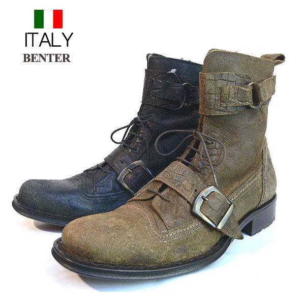 全国送料無料 ブーツ メンズ 本革 牛革 レザーショートブーツ Wアンクルベルト付き サイドジップ アンティーク BENTER イタリア製 インポート (2色/キャメル ブラック) ベンチャー