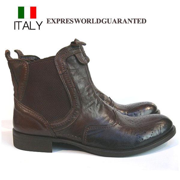 送料無料 ブーツ メンズ 本革 牛革 メダリオン サイドゴアブーツ レザーショートブーツ EXPRES WORLD GUARANTED イタリア製 インポート (ブラウン)