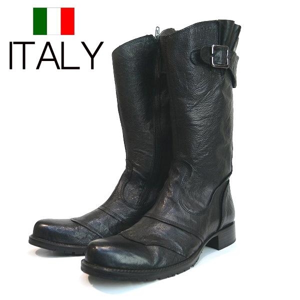 全国送料無料 ブーツ メンズ ロング 本革 牛革 エンジニア ロングブーツ ブーツイン バイカーブーツ EXPRES WORLD GUARANTED イタリア製 インポート (ブラック)