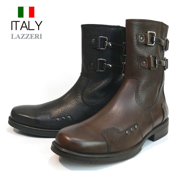 送料無料 ブーツ メンズ 本革 牛革 サイドジップブーツ Wアンクルベルト レザーブーツ ダブルアンクルベルト サイドファスナー LAZZERI イタリア製 インポート (2色/ブラック ブラウン)