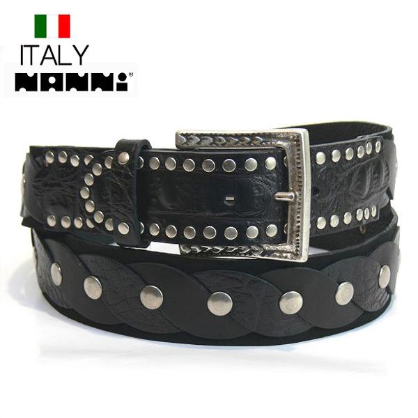 全国送料無料 レザーベルト NANNI イタリア製 インポート ヌバック 革 編みこみスタッズデザインベルト (ブラック) ナンニ