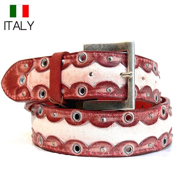 全国送料無料 牛革 レザーベルト ORCIANI イタリア製 インポート アンティークキャンパス仕上げ (レッド)