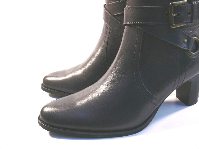 Myanmar-made leather leather W アンクルバックベルト boots and cowhide, leather boots, and large size 25.5 cm & 25 cm side zip boots, pointy toe, 3 E (5 colors and gray-black, dark brown, Brown, yellow)