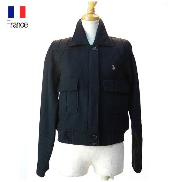 全国送料無料 LADYSOUL フランス製 インポート メルトンWジップブルゾン ショート丈ブルゾン ジャケット (ブラック)