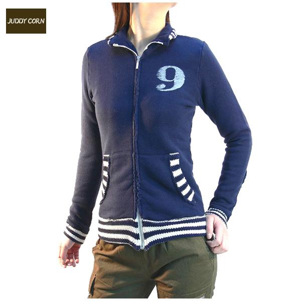 送料無料 JUDDYCORN ジュディーコーン リヨセルボーダージップスタンドジャケット レディースジャケット (ブルー)
