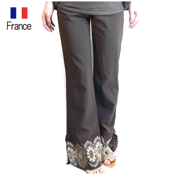 送料無料 BHATTI フランス製 インポート お花刺繍スリット入りパンツ ロングパンツ ワイドパンツ (ブラウン)