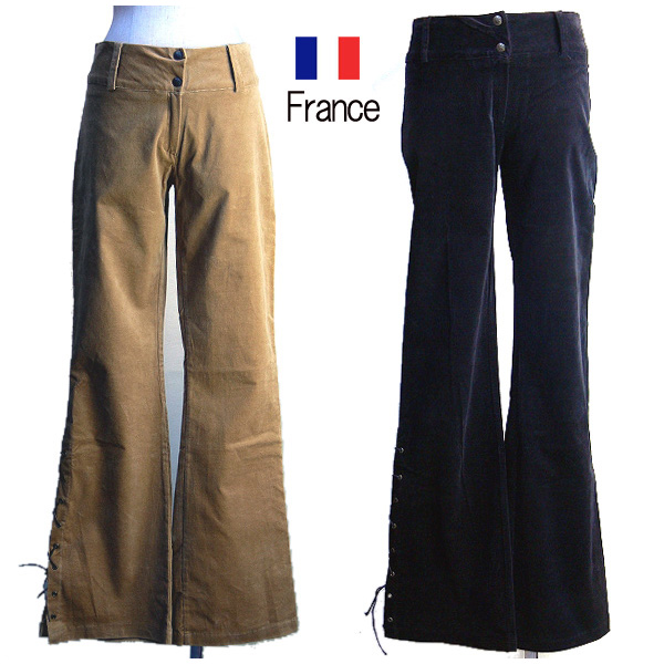 32f15efacd italico  BHATTI-France imported woven lace pants corduroy pants (two-color    black camel)