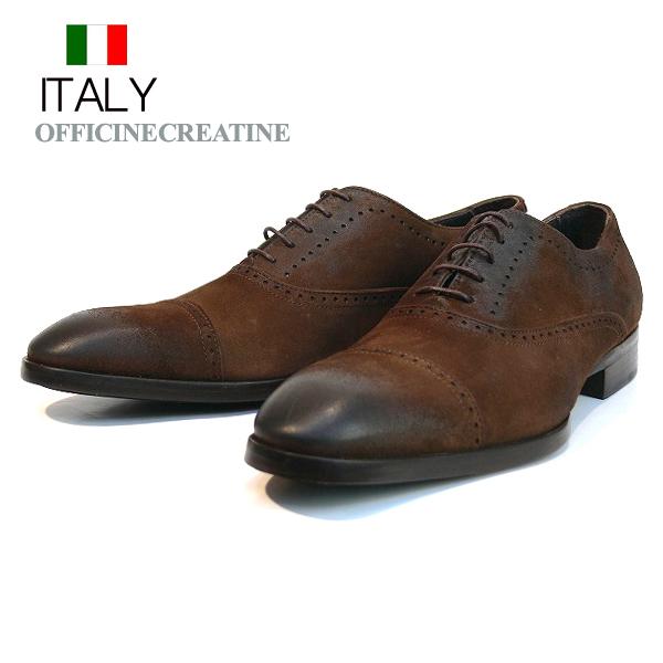 送料無料 ビジネスシューズ メンズ 本革 ストレートチップ スエード レザーシューズ 皮靴 紐靴 イタリア製 OFFICINE CREATIVE インポート (ダークブラウン) オフィチネクリエイティブ