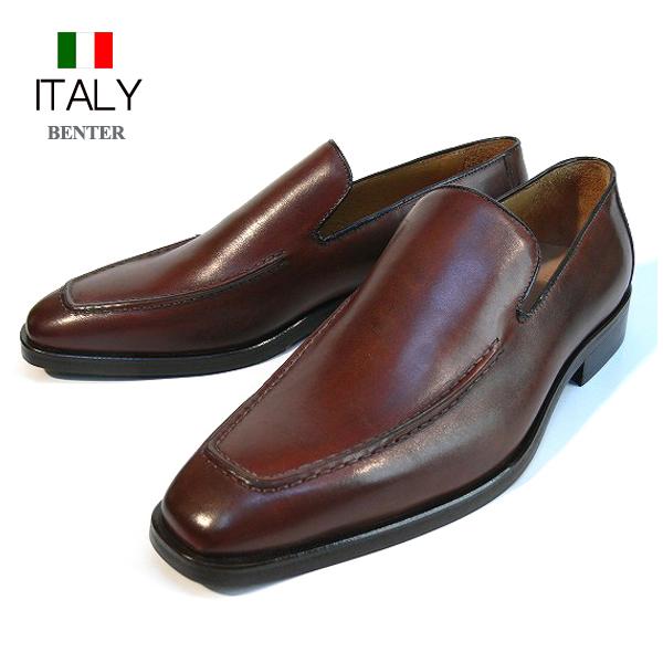 送料無料 ビジネスシューズ メンズ 本革 牛革 スリッポンシューズ ングスクエアトゥ レザーシューズ 皮靴 ローファー メンズ靴 BENTER イタリア製 インポート (ブラウン) ベンチャー