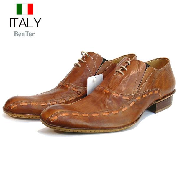 送料無料 ビジネスシューズ メンズ 本革 ロングノーズシューズ サイドゴア 皮ステッチ入り レザーシューズ 皮靴 紐靴 BenTer イタリア製 インポート (キャメルブラウン) ベンチャー