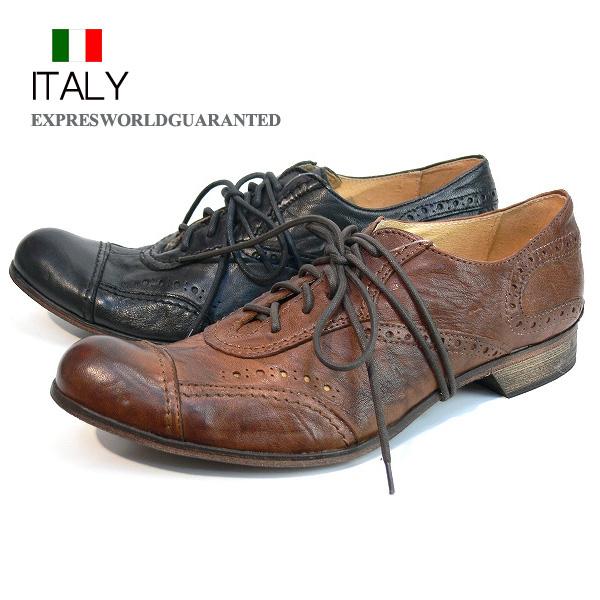 全国送料無料 ビジネスシューズ メンズ 本革 レースアップシューズ レザーシューズ 皮靴 紐靴 EXPRES WORLD GUARANTED インポート イタリア (2色/ブラウン ブラック)