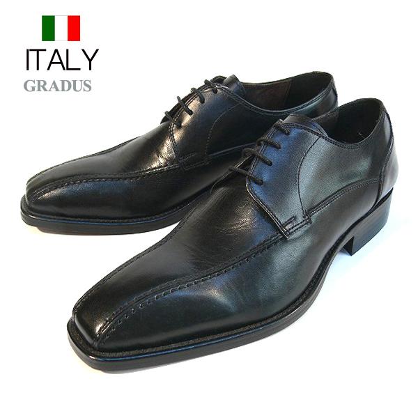 送料無料 ビジネスシューズ メンズ 本革 サイドステッチ スクエアシューズ レザーシューズ 紐靴 皮靴 GRADUS イタリア製 インポート (ブラック)