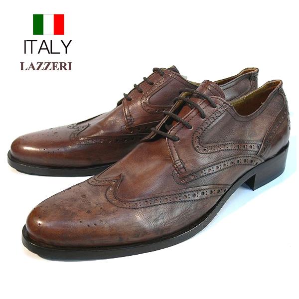 拉泽里在意大利进口皮鞋翼尖冲压纪念章皮鞋 (棕色)