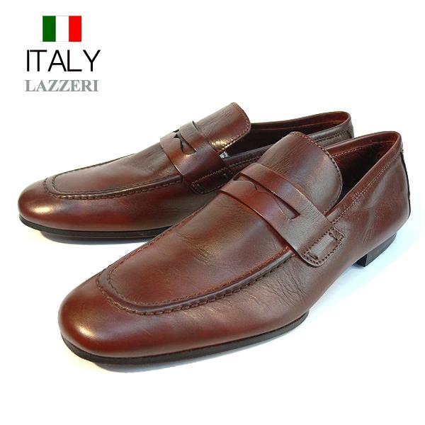 全国送料無料 ビジネスシューズ メンズ 本革 スリッポン ローファー レザーローファー 皮靴 LAZZERI イタリア製 インポート (ブラウン)