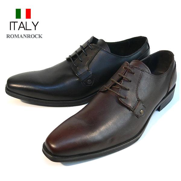 全国送料無料 ビジネスシューズ メンズ 本革 ロングスクエアトゥシューズ レザーシューズ 皮靴 紐靴 メンズ靴 ROMANROCK イタリア製 インポート (2色/ブラック ブラウン) ロマンロック