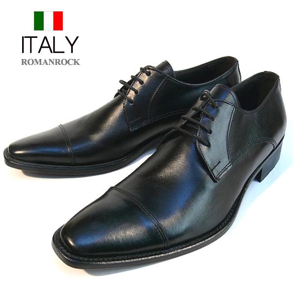 送料無料 ビジネスシューズ メンズ 本革 スクエアトゥ レザーシューズ 皮靴 ストレートチップ ROMANROCK イタリア製 インポート (ブラック) ロマンロック