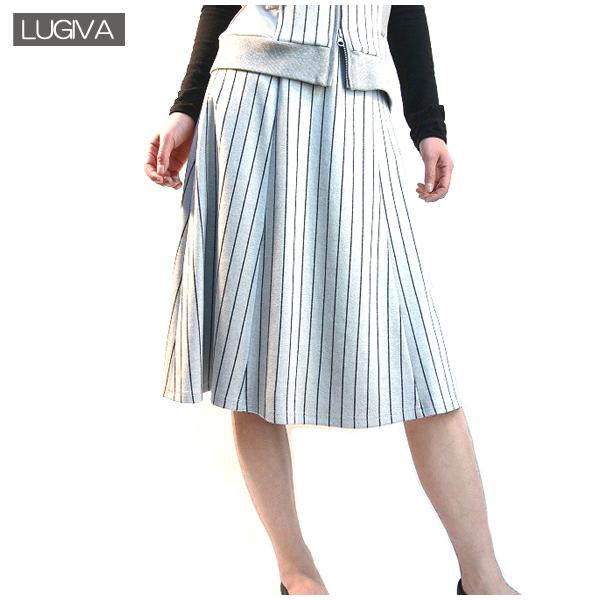 全国送料無料 LUGIVA ストライプ柄 ミモレ丈スカート 膝丈スカート フレアスカート (グレー)