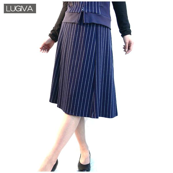 全国送料無料 LUGIVA ストライプ柄 ミモレ丈スカート 膝丈スカート フレアスカート (ブルー)