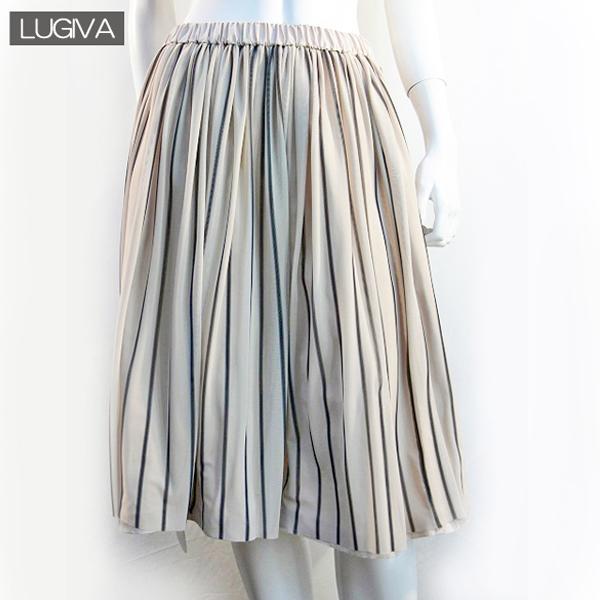 送料無料 LUGIVA ストライプギャザースカートプリーツスカート 膝丈 ウエストゴム レディーススカート (ベージュ)