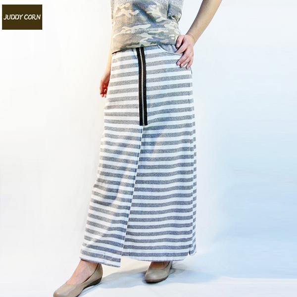 全国送料無料 JUDDYCORN ジュディーコーン 巻きロングスカート スリット ウエストゴム デザインファスナー (グレーボーダー)