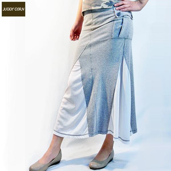 送料無料 JUDDYCORN ジュディーコーン シースルーロングスカート 透け感 タイトスカート (グレー)
