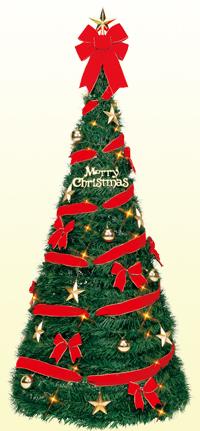 180cmスパイラルツリーセット (クリスマス/クリスマス用品/クリスマスツリー/ツリー/パーティー/飾り/オーナメント/サンタ/)