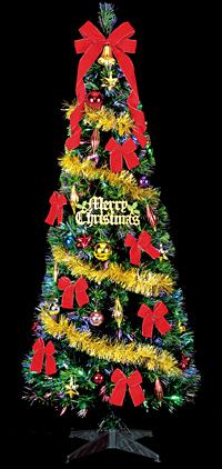 180cmファイバーツリーセット (クリスマス/クリスマス用品/クリスマスツリー/ツリー/パーティー/飾り/オーナメント/サンタ/)