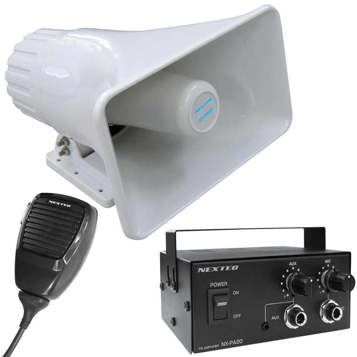車載用拡声器/スピーカー・アンプ・マイクのフルセット NX-PA20