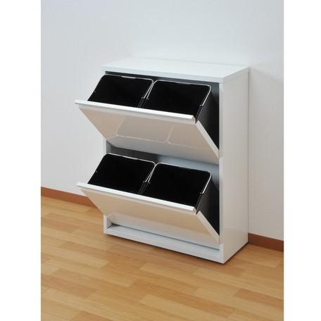 スチール製フラップ式ダストBOX【4分別】 スッキリとしたシンプルデザインの薄型ダストボックス