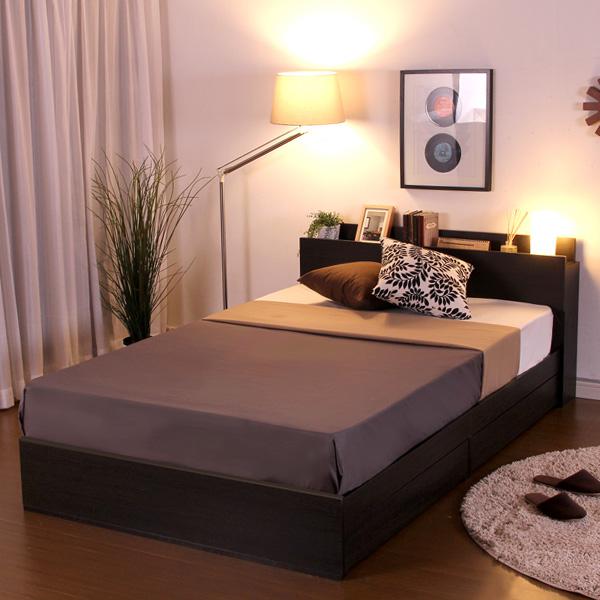 収納付きデザインベッド【ソヌス-SONUS-(シングル)収納機能付ベッド(棚付き引き出し2杯タイプ)  【代引不可】