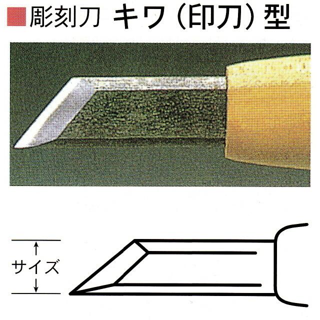 日本正規代理店品 三木章刃物本舗 新作多数 安来鋼彫刻刀単品 キワ 印刀 15mm 型 13.5mm