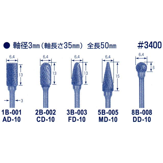 東京オートマック 木彫機 回転工具用 超硬バー Bセット 5本組 #14500<AUTOMACH>