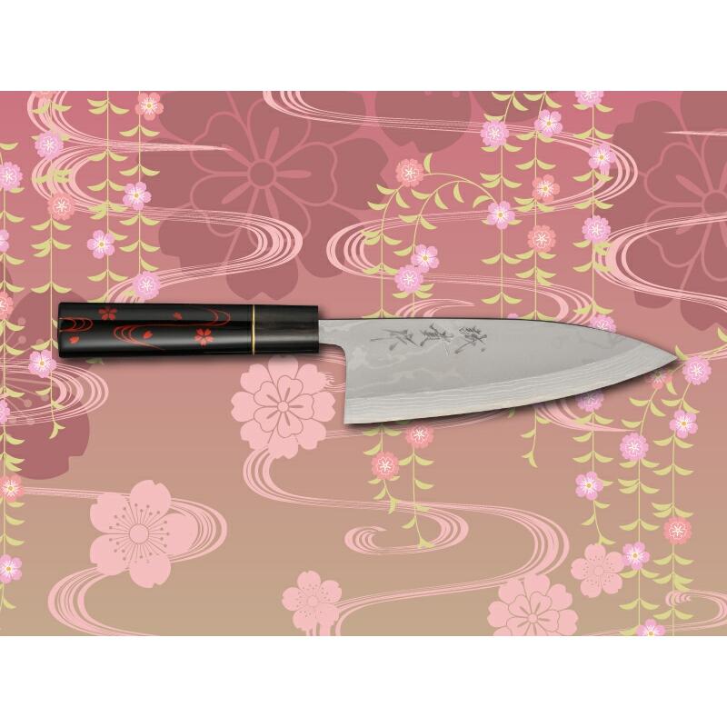 みきかじや村 漆霞『花びら』青紙積層鋼 出刃包丁5.5寸 TS022