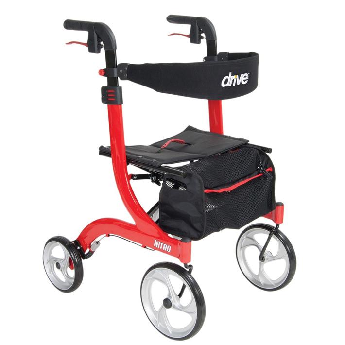歩行車 歩行器 折りたたみ可能 ハンドル高調整可能 ニトロ ユーロスタイル 介護 リハビリ 介助車 レッド RTL10266