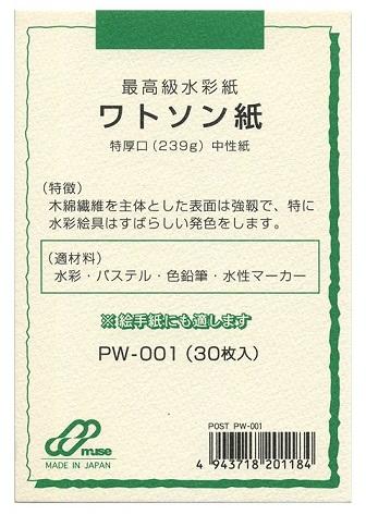 木綿繊維を主体とした表面は強靭で 特に水彩絵具はすばらしい発色をします メール便OK ミューズ はがき用紙 ワトソン紙 低価格化 ポストカードパック 239g 30枚入 PW-001 価格 交渉 送料無料