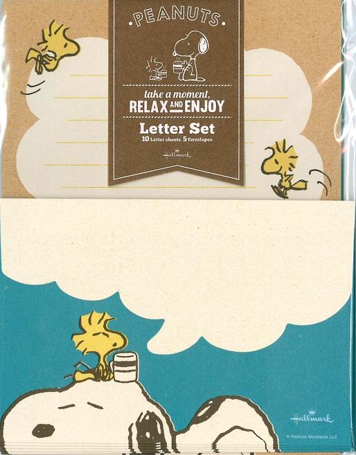 さわやかなコミカル調のレターセットです メーカー公式ショップ メール便OK 在庫一掃 ホールマーク スヌーピーレターセット かわいいレターセット ブルーリラックス SNOOPY EES-708-849
