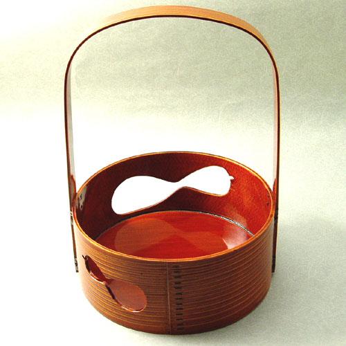 【茶道具】【送料・代引き手数料無料】春慶塗手付莨盆曲物 瓢透かし(化粧箱)