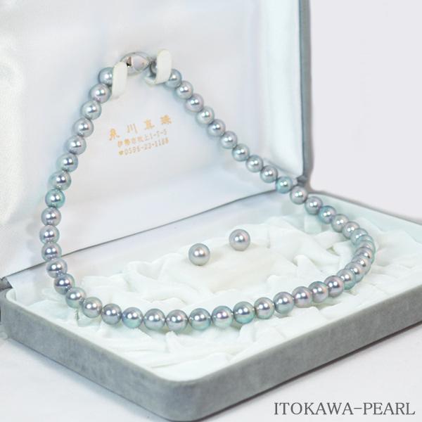 グレー系2点セットあこや真珠ネックレス<8mm> NE-1862【当店のクーポンを是非ご利用下さい】