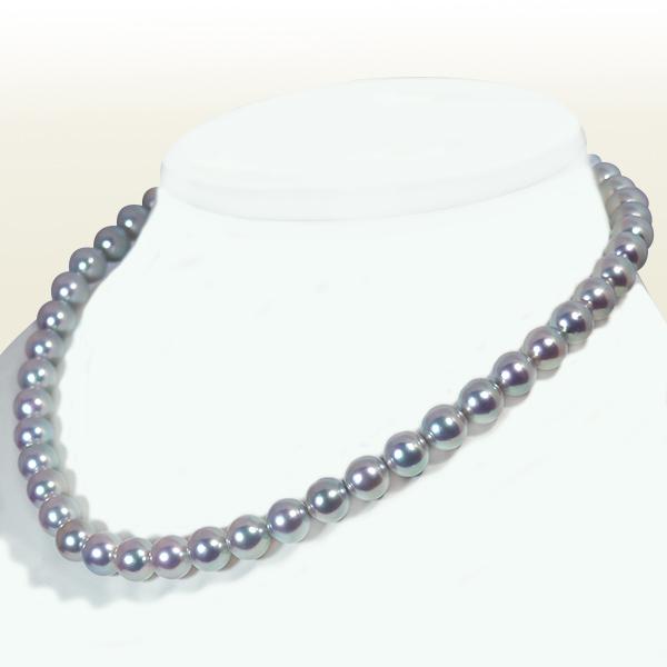 ブルーローズ グレー系あこや真珠ネックレス<8.5~9mm>鑑別書付 N-11619【当店のクーポンを是非ご利用下さい】