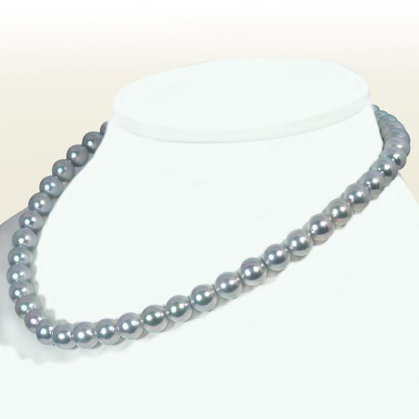 選択 真多麻真珠 グレー系あこや真珠ネックレス 8.5~9mm お気にいる N-11660 鑑別書付 当店のクーポンを是非ご利用下さい