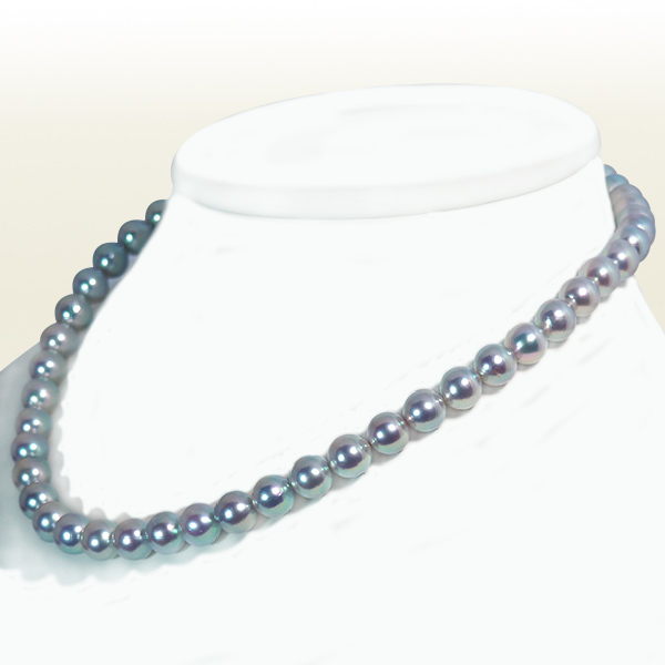 グレー系 無調色あこや真珠パールネックレス<8~8.5mm>N-11742【当店のクーポンを是非ご利用下さい】