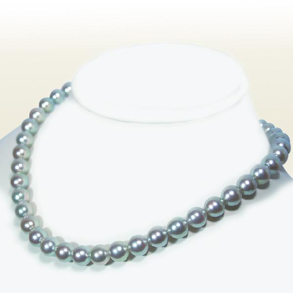 グレー系(ナチュラルカラー)厚巻良質あこや真珠ネックレス<9.5~10mm>鑑別書付 N-8829【当店のクーポンを是非ご利用下さい】