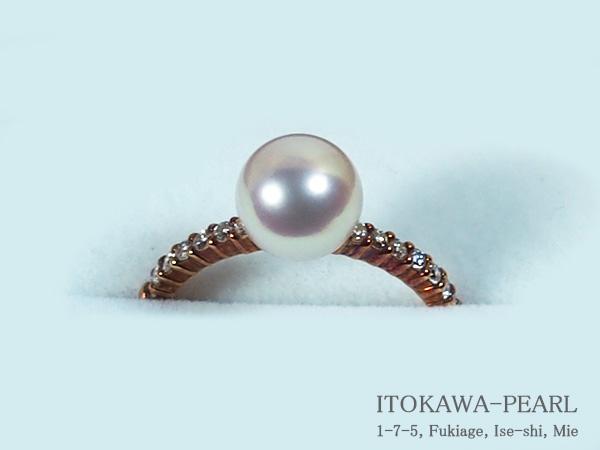 花珠真珠リングパール リング <7.7mm>K18・ダイヤモンド0.18ctアコヤ真珠 鑑別書付 R-13784【当店のクーポンを是非ご利用下さい】